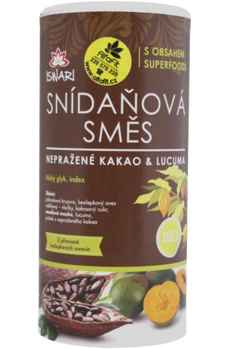ISWARI Bio snídaňová směs 800 g - nepražené kakao & lucuma