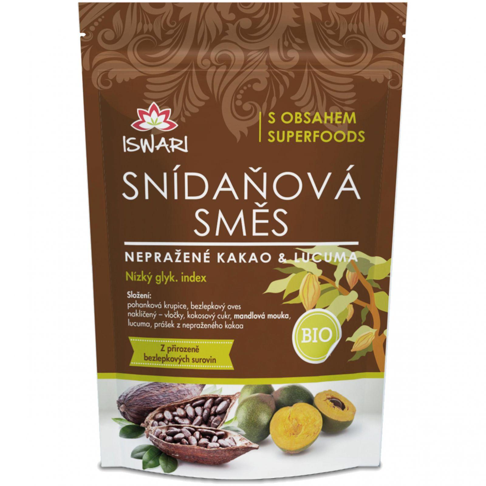 Iswari BIO Snídaňová směs 300 g - nepražené kakao & lucuma
