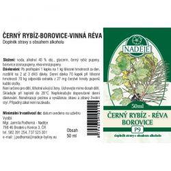 Naděje Černý rybíz-borovice-vinná réva - etiketa